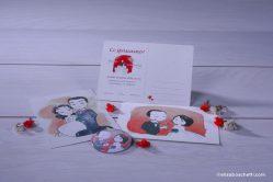 Partecipazione cartolina illustrata Cristiana&Paolo